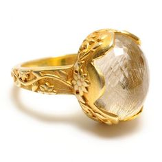 Katie Diamond Delilah ring - rutilated quartz and 18k gold - Gorgeous.