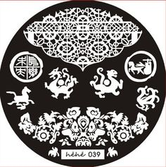 Hehe stamping plate 039 chinese dragon horse flowers person with horse lace