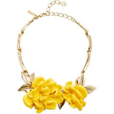 Oscar de la Renta Oversized Resin Flower Necklace ($690) ❤ liked on Polyvore featuring jewelry, necklaces, pave diamond necklace, oscar de la renta jewelry, leaf necklace, resin flower jewelry and resin jewelry