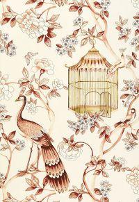 Oiseaux Et Fleurs Cinnabar by F Schumacher