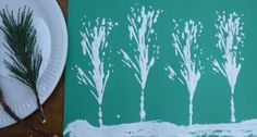 Fir tree printing - Christmas crafts for kids - Netmums Fir Tree, Tree Branches, Snowy Trees, Cute Penguins, Christmas Party Games, Christmas Paintings, White Paints, Art Projects, Indoor