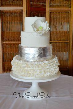 Silver Wedding Cake  - Seattle Wedding Cake and Dessert Bars - The Sweet Side gallery www.ilovethesweetside.com