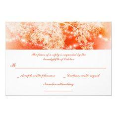 coral garden lights branches wedding RSVP cards