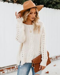 151da98dfc How Sweet It Is Cable Knit Sweater - Cream