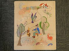 171) Good Mid 20thC colourful embroidery panel Est. £35-£45