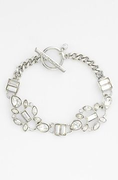 Love this crystal cluster toggle bracelet for prom.