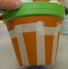painted clay pots ideas | ... as shown around the large pot. Paint the stripes blue and let dry
