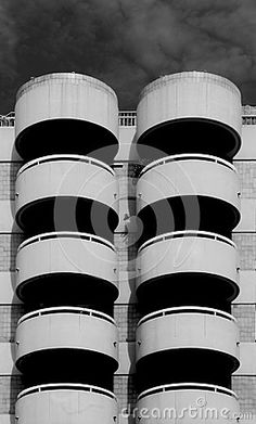 Shot in black and white, detail on this modern building placed at Les Corts, set in Barcelona, catalunya, Catalonia, Spain, Europa, Europe