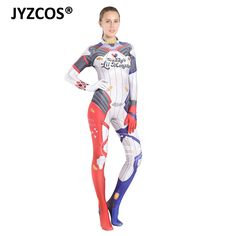 Jyzcos Adult Suicide Squad Harley Quinn Cosplay Costume Lycra Zentai Jumpsuits Halloween Cosplay Costume Suit For Women