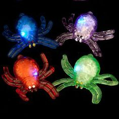 Flashing Jelly Spider by Century Novelty. $1.95. Creepy Crawly Halloween Fun. Looking for something unique to pass out to your trick or treaterss This year, give away Flashing Jelly Spiders. These light up spiders are a great alternative to candy for your trick or treaters. Flashing spiders are perfect for your upcoming Halloween party or school function. Children trick or treating at your house will be delighted to get flashy toys they can use again and again! Press ...