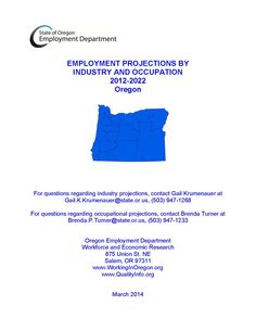 Employment projections by industry and occupation, by the Oregon Employment Department