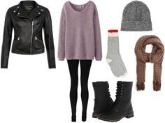 Wear your leather jacket with a cozy long sweater, combat boots and black leggings, add a cute beanie and matching scarf