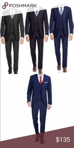 Braveman 3pc Suit 52LX46W Free Tie - Navy Slim Fit Slim fit suit's feature jacket, Vest,and trousers suit is brand-new and comes with free tied regular retail $599  Ideal for most formal occasions, Made of polyester, dry clean only  Unhemmed Trousers that can be tailored for a perfect fit  Jacket measurements: chest underarm to undersrm 25 inches, Length of jacket down the back is 32 inches, sleeve length 28 inches, shoulder to shoulder 20 inches Braveman Suits & Blazers Suits