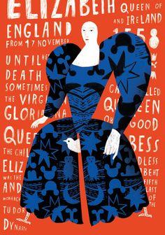 Luba Haleva The Virgin Queen Elizabeth illustration design typography