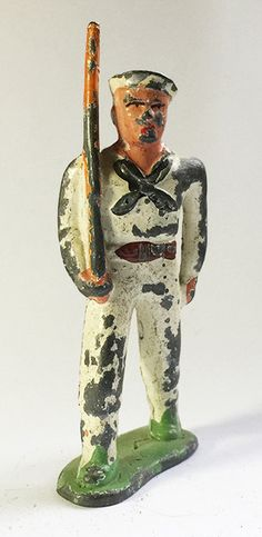 Vintage Barclay B52 719 Lead Toy U.S. Sailor in por ToySoldierShop