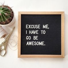"""Excuse me, I have to go be awesome."" The Letterfolk Poet Oak is an elegant and versatile letter board. Ideal for succinct messages, this square letterboard can be hung on the wall, leaned on a side t(Cool Photography Quotes) Great Quotes, Quotes To Live By, Me Quotes, Funny Quotes, Inspirational Quotes, Quirky Quotes, Woman Quotes, Word Board, Quote Board"