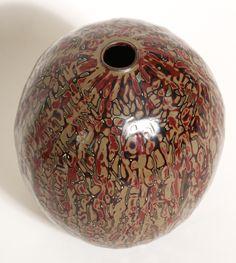 Art Déco - Vase Ovoide - Bronze Laqué Noir, Bordeaux et Beige - Jean Dunand - 1925