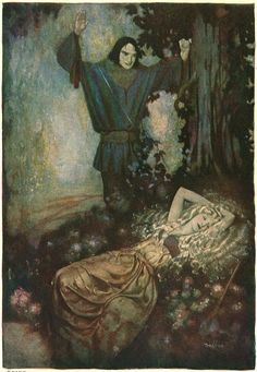 """Gustaf Tenggren for """"The Golden Branch"""" in D'Aulnoy's Fairy Tales. - 'He recognized in her the same being whose beauty he had admired in the gallery.'"""