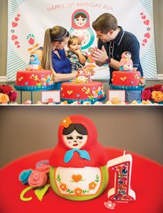 Playful Nesting Doll Party Theme {First Birthday} Love the rhinestones on the candle!
