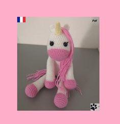 Chat Crochet, Crochet Amigurumi, Dinosaur Stuffed Animal, Creations, Cats, Pattern, Baby Teething, Tuto Doudou, Gatos