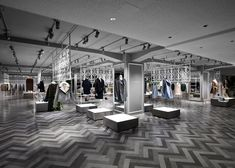 Japanese design studio Nendo has installed screens based on wrought iron fences in the women's clothing section of Tokyo's Seibu department store so it resembles a European city park