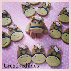 Fondant Horse cake and cupcake topper set by creativedibles