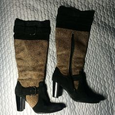 Black Cheetah boots Brand new shoes perfect condition. Original price  $235 I bought them for $146.90 at nordrom rack and selling for a good price;) leather and dyed pony hair upper. Balance man made materials Barn crown  Shoes Heeled Boots