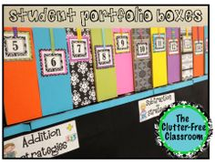 STUDENT PORTFOLIO BOXES: Love this idea vs. using binders. Simply drop their papers, work samples in the box