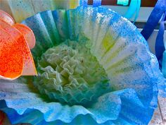 Close up detail for coral.  Paint splatter coffee filters and bunch together. Great decoration for ocean or sea theme.