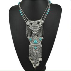 Boho Statement Necklace | $12 when you bundle 50% off EVERYTHING when you bundle!! (Any 2+ items) Beautiful Boho Statement Necklace Great for daytime or evening Silver alloy and created turquoise ❌NO TRADES❌ Bundle and SAVE! 50% off ALL bundles! Thanks for looking! LeslieVegan Jewelry Necklaces