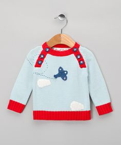 Powell Craft Blue Vintage Plane Sweater - Infant