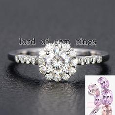 $529: Round Moissanite Engagement Ring 14K White Gold 5mm