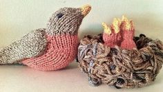 Free knitting pattern for Spring Robin, Baby Robin, and Nest and more bird knitting patterns