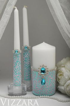 Unity candles Mint wedding Wedding unity candle set Mint green wedding Unity candle wedding ceremony Mint and pink wedding Big Candles, Wedding Unity Candles, Pillar Candles, Wedding Centerpieces, Wedding Decorations, The Wedding Date, Wedding Sets, Wedding Ceremony, Wedding Mandap