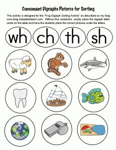 Free colorful digraph pictures for sorting. Great for small group instruction.