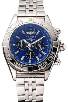 Replica Breitling Chronomat 44 Blue Dial with Black Subdials Polished Stainless Steel Bezel with Minute Markers Watch with Polished Stainless Steel Case And Bracelet