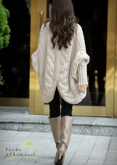 Hand knit cable wrap sweater.