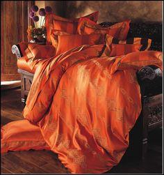 beautiful orange bed linens