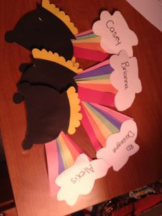 March door tags! Pot of gold with a rainbow an a cloud at the end.