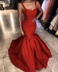 Red Spaghetti Straps Sweetheart Corset Mermaid Prom Evening Dresses