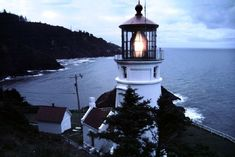 Visitors to the Heceta Head lighthouse in Oregon are treated to this wonderful view of the rugged coast line, which evokes the mighty cliffs and redwood forests of the Big Sur Country.