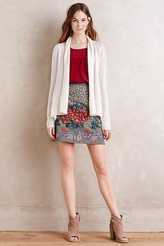 Embroidered Wool Mini Skirt - anthropologie.com