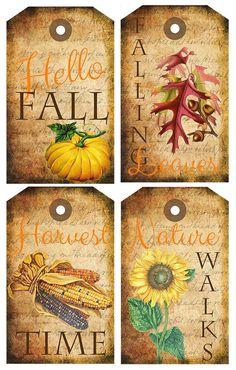 Fall Themed Tags Free Printable