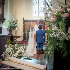 Large church statement designs and pew end flowers framing the ceremony.the ceremony as seen by the seated guests. A Wilde Bunch design from summer 2015 at Clovelly Church in Devon. Church Wedding Flowers, Aisle Flowers, Pew Ends, Bridesmaid Dresses, Wedding Dresses, Flower Frame, Summer 2015, Devon, Big Day