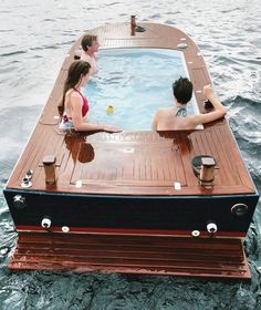 Hot tub on the water. Perfect idea :)