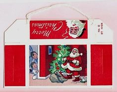 Vintage '50s Christmas CANDY Box With SANTA Illustrations by MADsLucky13,