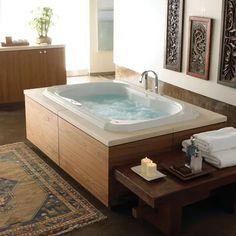 Find Your Zen: 19 Spa Bathroom Ideas Jacuzzi Bathroom, Spa Tub, Jacuzzi Tub, Whirlpool Bathtub, Master Bathroom, Master Baths, Bath Tub, Indoor Jacuzzi, Indoor Pools