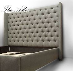 The Adler Headboard : 68″ tall, deep button tufted wingback headboard. Our 12″ tall Upholstered Bed frame and mattress support system conceal box spring and provides ample support. Queen Headboard: $1199.00 King Headboard: $1249.00 8 yards required