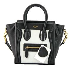 celine style handbag - Celine Nano Luggage Boston Leather Bag Tricolor White Black Coffee ...