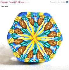 SpringFling Yellow and Blue Kaleidoscope Raw by polymerclaybeads